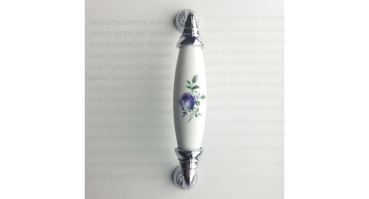 96 mm Polimer Porselen Görünüm Mor Çiçek Krom Kulp