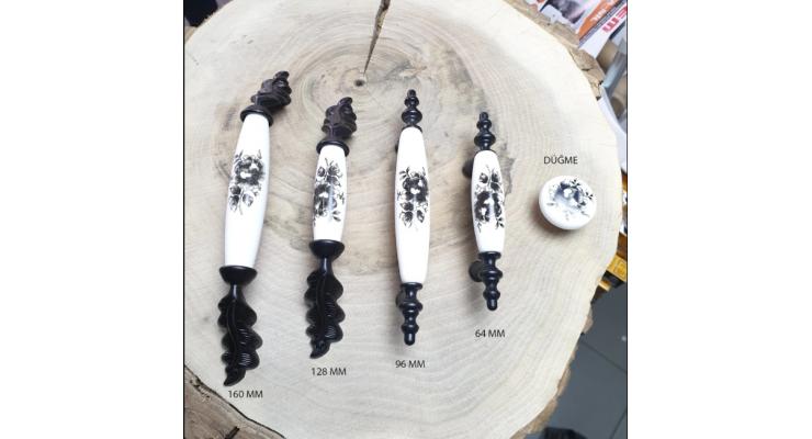 160 - 128 - 96 - 64 mm - düğme Porselen Görünüm Kulp Mat Siyah