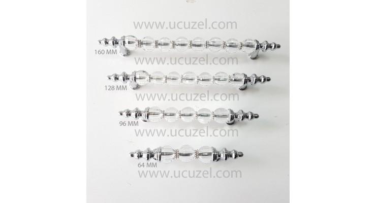 Kristal Misket Krom Kulp Mobilya Dolap Çekmece 64 96 128 160 mm