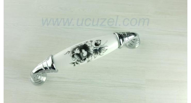 96 mm Polimer Porselen Görünüm Siyah Çiçek Krom