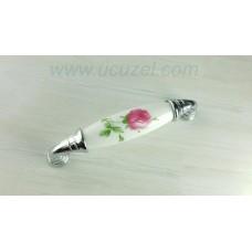 297/125 96 mm Krom Porselen Görünümlü Kulp Çekmece Kulplar Dolap Kulpu Kulpları
