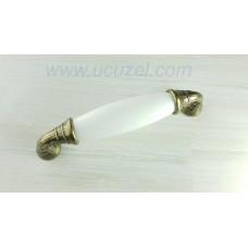 96 mm Polimer porselen görünümlü Beyaz Antik kulp