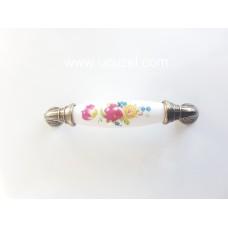 297/141 96 mm Antik Porselen Görünümlü Kulp Çekmece Kulplar Dolap Kulpu Kulpları