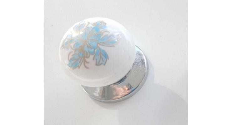 297/147 Düğme Krom Porselen Görünümlü Kulp Çekmece Kulplar Dolap Kulpu Kulpları mavi kulp