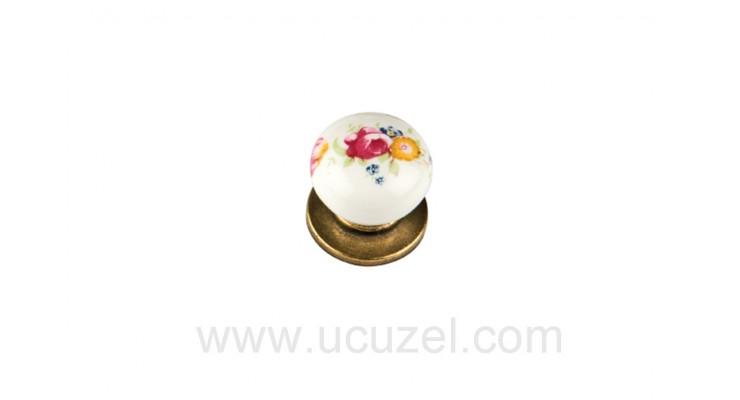 297/141 Düğme Antik Porselen Görünümlü Kulp Çekmece Kulplar Dolap Kulpu Kulpları