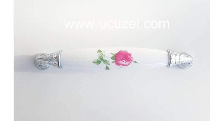 297/125 128 mm Krom Porselen Görünümlü Kulp Çekmece Kulplar Dolap Kulpu Kulpları Toptan