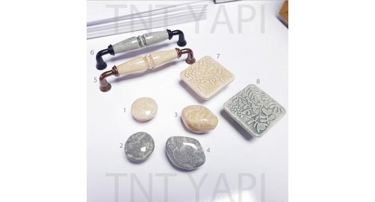 2019 model Taş Kulp düğme 128 mm taba krem antrasit